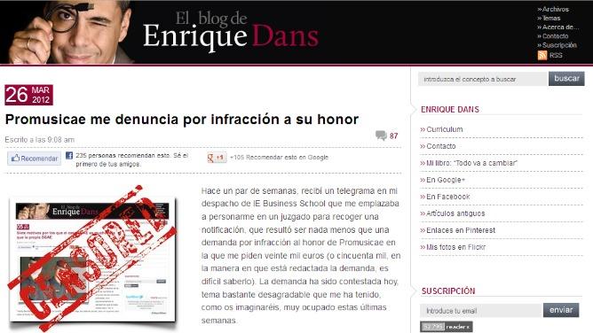 Entrada en el blog de Enrique Dans donde informa de la demanda de Promusicae