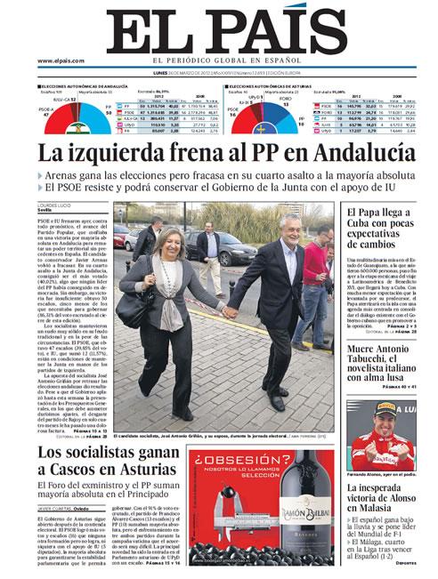 FOTOGALERIA: Portada de El País (26/03/2012)