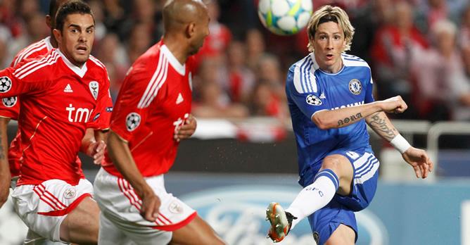 El delantero español, durante el partido de ida de los cuartos de final de la Champions que ha terminado con el Benfica 0 - Chelsea 1