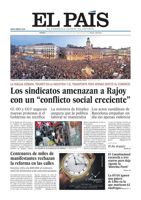 """FOTOGALERIA: 'El País': Los sindicatos amenazan a Rajoy con un """"conflicto social creciente"""""""