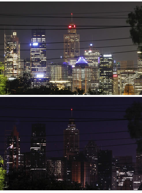 Imagen de la ciudad australiana de Sidney, antes y durante la 'Hora del Planeta' (REUTERS)