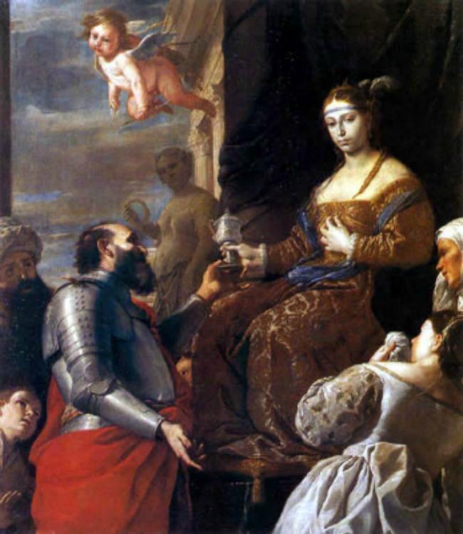 Sofonisba recibiendo la copa con veneno. Cuadro de Matia Pretti 1670