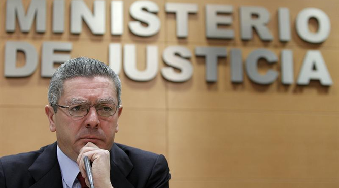 Alberto Ruiz-Gallardón durante la presentación de los presupuestos de su departamento