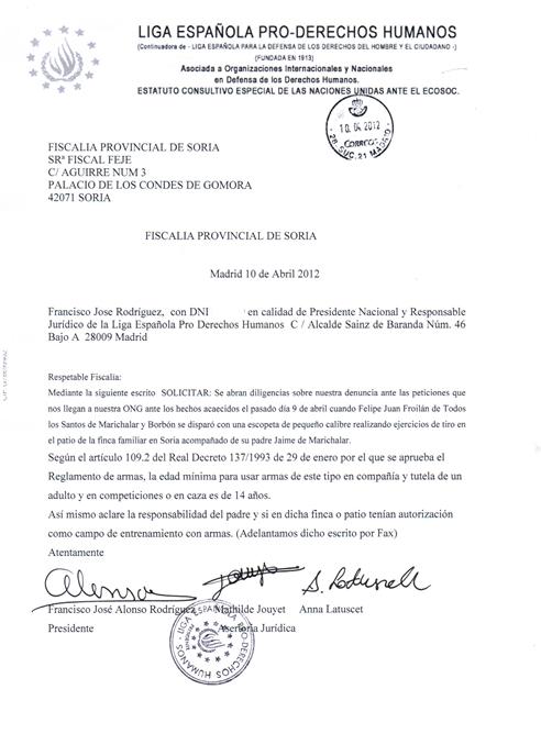 Denuncia de la ONG (Liga Española Pro Derechos Humanos) donde pide a la Fiscalía que abra diligencias para aclarar el accidente con arma de Froilán