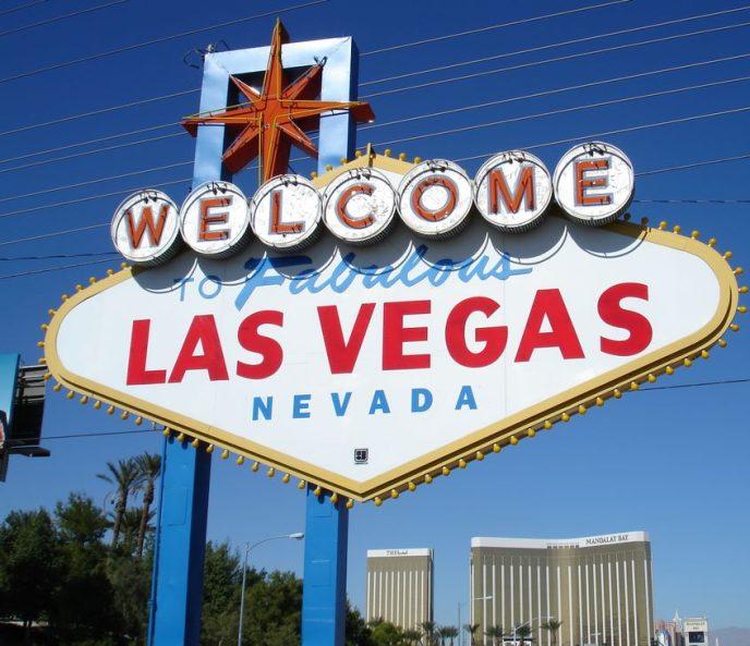 El mític cartell anunciador a l'entrada de Las Vegas, a Nevada