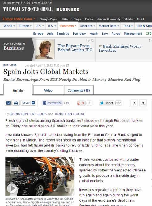 La noticia sobre España en la versión digital de Wall Street Journal