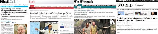Las noticias del accidente del rey, en los medios internacionales