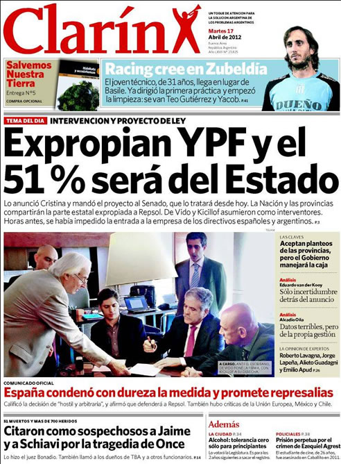 FOTOGALERIA: 'Clarín': Expropian YPF y el 51% será del Estado