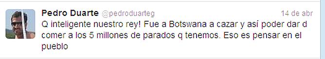Uno de los críticos tweets de Pedro Duarte en su cuenta personal