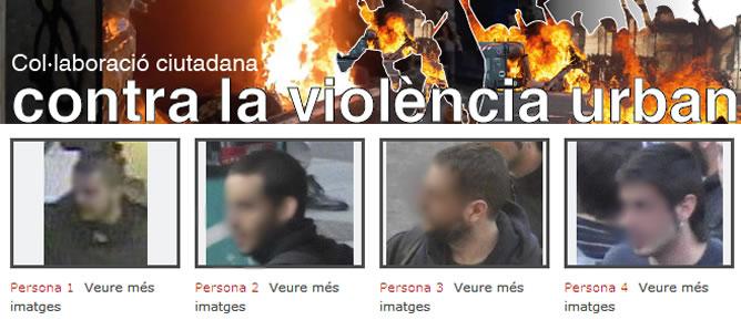 Captura de pantalla de la página web contra la violencia urbana de los Mossos