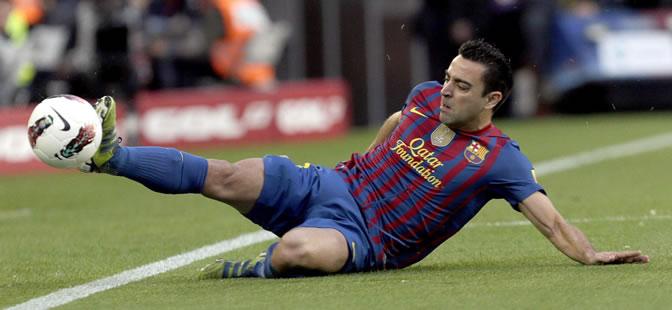 Xavi, durante el partido de Champions ante el Chelsea