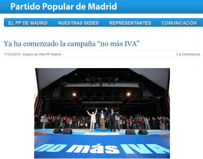 Imagen de la campaña contra el IVA en la página web del PP madrileño