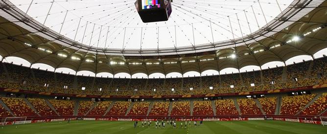 Los jugadores del Athletic se ejercitan durante el entrenamiento celebrado en el National Arena de Bucarest el día antes de la final de la Europa League ante el Atlético de Madrid.