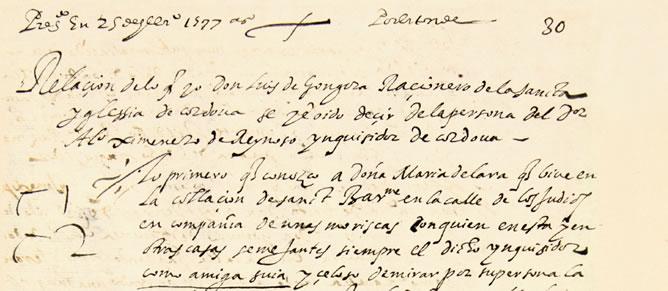 Descubierto un  manuscrito inédito de Góngora acusando a un inquisidor