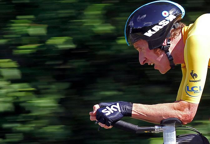El corredor británico Bradley Wiggins del Sky, durante la contrarreloj de Besançon