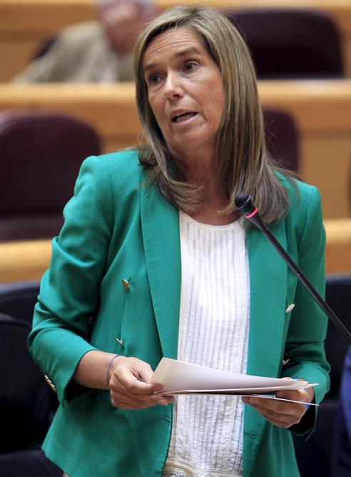 La ministra de Sanidad, Servicios Sociales e Igualdad, Ana Mato, durante su intervención en la sesión de control al Gobierno que se celebra en el Senado