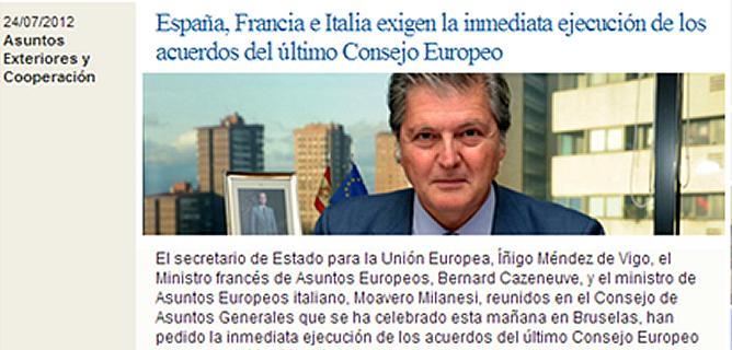 """Captura de pantalla de la página web del Ministerio de Exteriores con la nota en la que aseguraban: """"España, Francia e Italia exigen la inmediata ejecución de los acuerdos del Consejo Europeo"""""""