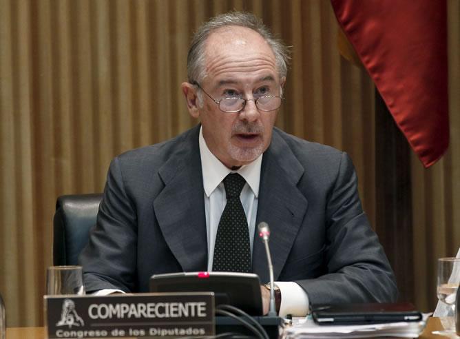 El expresidente de Bankia, Rodrigo Rato, durante su comparecencia en la Comisión de Economía para explicar la crisis bancaria.
