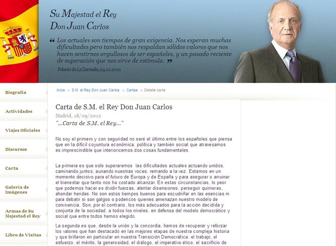La carta del rey Juan Carlos ha sido publicada en la página web de la Casa Real
