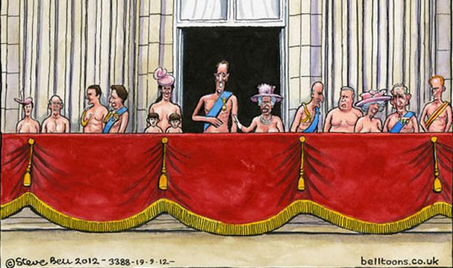 Viñeta cómica en la que toda la Familia Real británica aparece desnuda publicada en 'The Guardian'