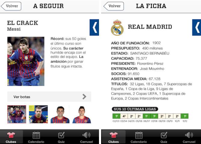 Captura de pantalla de la app de la guía de 'Carrusel' de la Liga 2012/2013