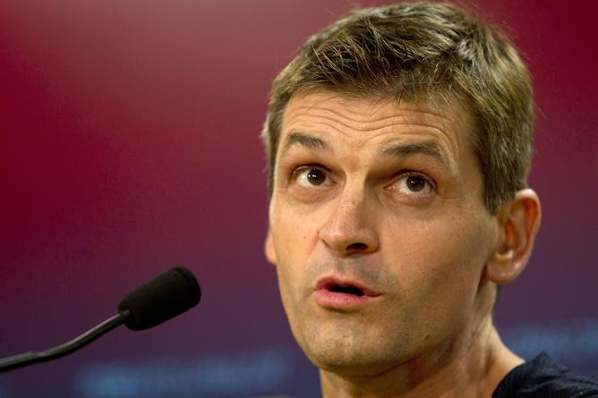 El entrenador del FC Barcelona, Francesc 'Tito' Vilanova, durante la rueda de prensa previa al partido de liga correspondiente a la sexta jornada entre el Barça y el Granada.