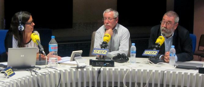 Los secretarios generales de CCOO y UGT durante su entrevista en 'Hora 25'