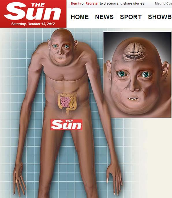 Infografía del periódico 'The Sun' sobre cómo seremos dentro de 1.000 años