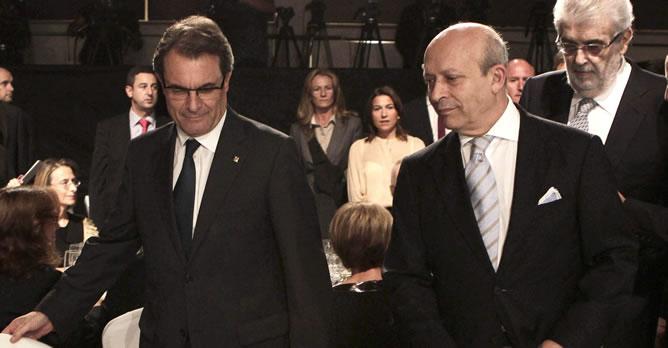 El ministro Wert junto al president Artur Mas en los premios Planeta