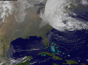 Fotografía del huracán 'Sandy' en la costa este de EEUU tomada por un satélite de la NASA