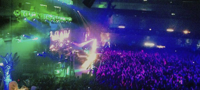 Imagen de la macrofiesta de Halloween celebrada en el pabellón deportivo Madrid Arena.