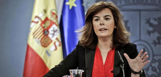 Soraya Sáenz de Santamaría, en la rueda de prensa del Consejo de Ministros