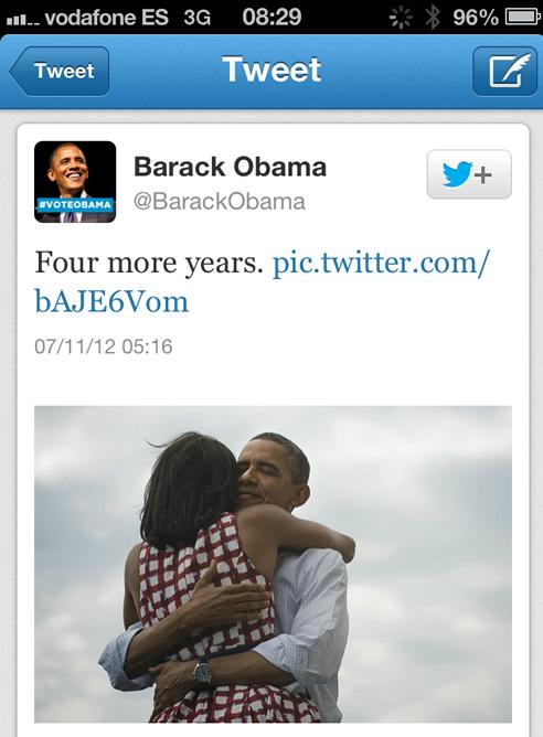 El tuit de la victoria electoral de Obama, el más retuiteado de la historia.