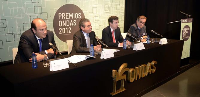 Alejandro Nieto, Augusto Delkáder, Juan Pablo Álvarez y Josep María Martí en el momento en el que se ha dado a conocer el fallo del jurado de la 59ª edición de los Premios Ondas