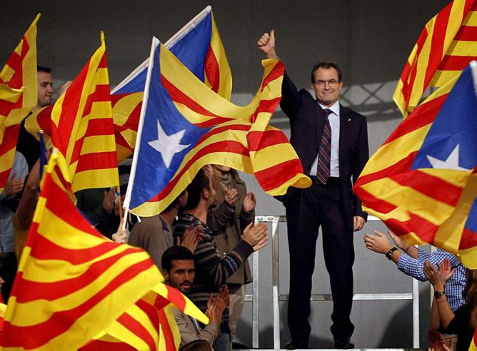 El presidente de la Generalitat y candidato de CiU a la reelección, Artur Mas, a su legada al acto de inicio de campaña de las elecciones catalanas del próximo día 25 de noviembre