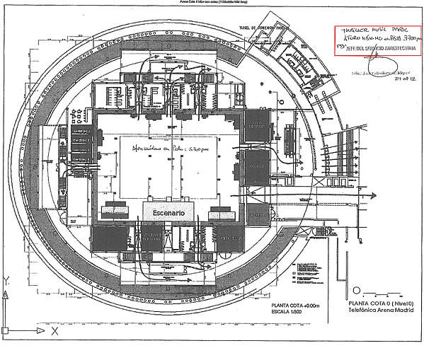 Plano que figura en el contrato que firmó el Ayuntamiento de Madrid con la empresa Diviertt en el que se detalla el aforo máximo permitido de la pista del Madrid Arena: 3.700 personas