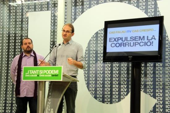 Herrera i Mena al costat del lema 'Expulsem la corrupció!'
