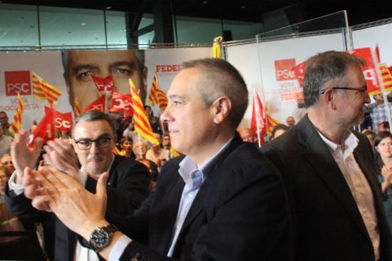 Pere Navarro, Àngel Ros i Marcelino Iglesias, a l'acte del PSC a Lleida.