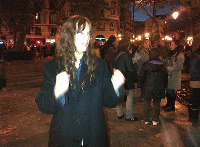 La cantante de Nueva Jersey durante la manifestación posterior a la huelga general que tuvo lugar en Madrid