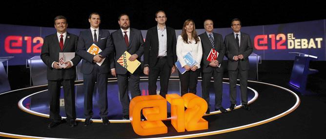 Los siete candidatos a las elecciones catalanas del 25-N en el debate celebrado este domingo. EFE/Alberto Estévez