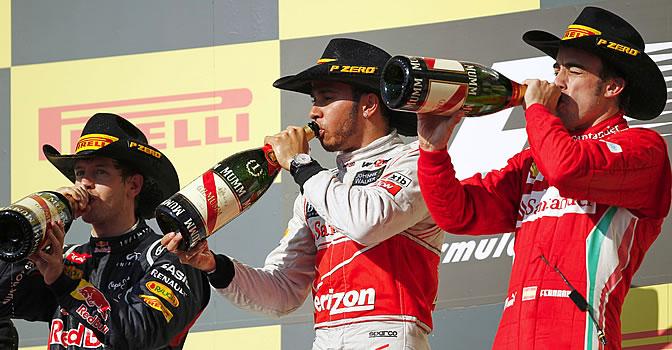Vettel, Hamilton y Alonso, en el podio de Austin