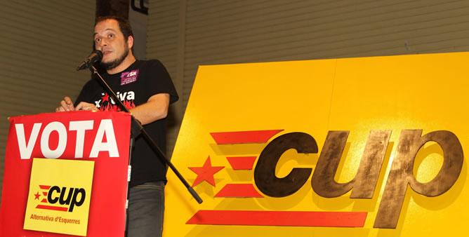 David Fernández, el candidato de CUP, en el acto de cierre de campaña.
