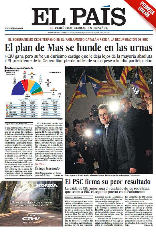 """FOTOGALERIA: 'El País': """"El plan de Mas se hunde en las urnas"""""""