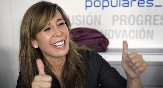 La líder del PPC, Alicia Sánchez Camacho, al inicio del Comité Ejecutivo Nacional que estudiará este lunes el escenario político que se abre en Cataluña tras la victoria electoral de CiU