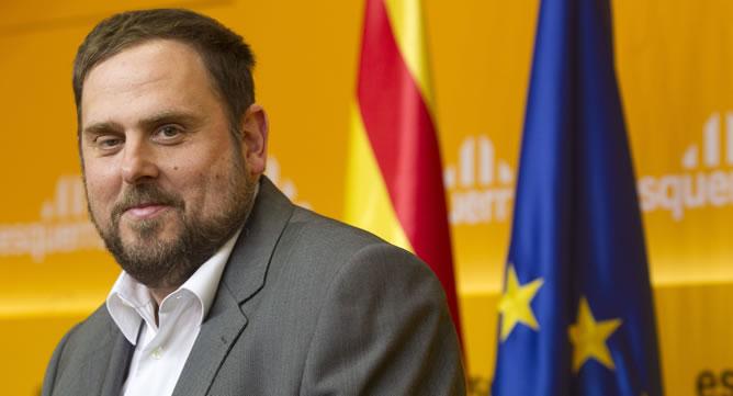 El líder de ERC, Oriol Junqueras, ha comparecido esta mañana ante los medios tras la reunión de la permanente celebrada en Barcelona, para analizar los resultados de las elecciones catalanas