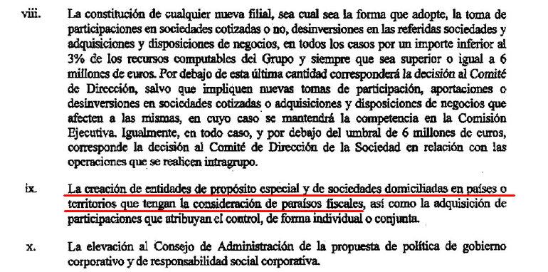 """El consejo autoriza a la Comisión Ejecutiva a crear """"entidades de propósito especial"""" y sociedades domiciliadas en """"paraísos fiscales"""""""