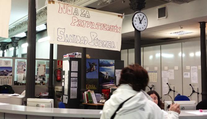 El centro de salud 'Las Cortes', en Madrid, durante al jornada de huelga