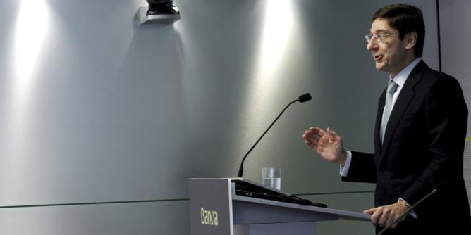 El presidente de Bankia, José Ignacio Goirigolzarri, durante la presentación etse miércoles en Madrid del plan estratégico de la entidad para los próximos cuatro años.