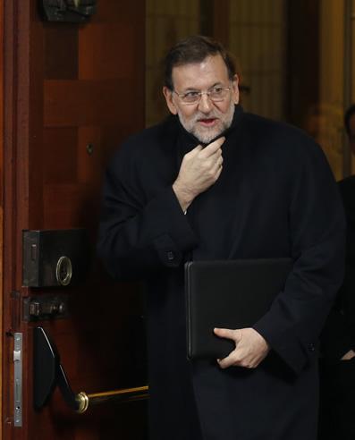 Mariano Rajoy, saliendo del Parlamento