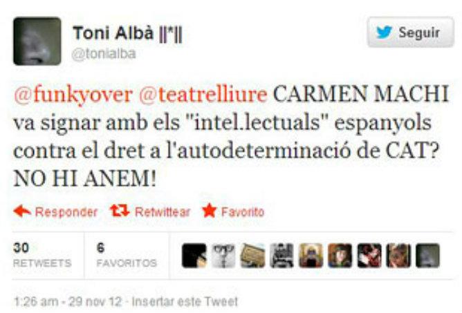 Tuit de Toni Albà en el que pide a los ciudadanos que no acudan a ver la obra de Carmen Machi